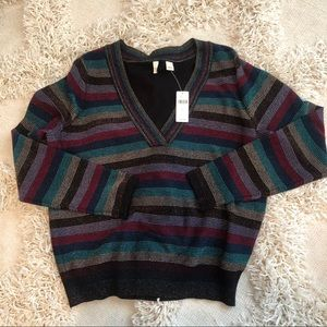 Anthropologie Moth rainbow striped pullover